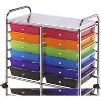 Blue Hills Studio Storage Cart: Double-Wide Storage Cart with 12 Drawers - Multi-Color