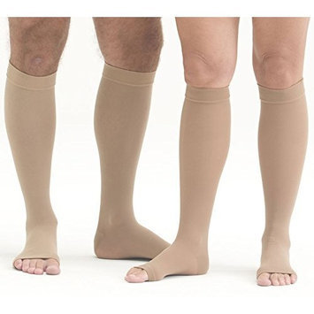 Mediven Plus, Knee-High, Extra Wide With Top Band, Petite, 30-40mmHg, Open Toe, Compression Stocking, Beige, VII