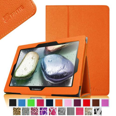 Fintie Folio Leather Case Cover with Auto Sleep / Wake Feature for Lenovo IdeaTab S6000 10.1-Inch Android Tablet, Orange