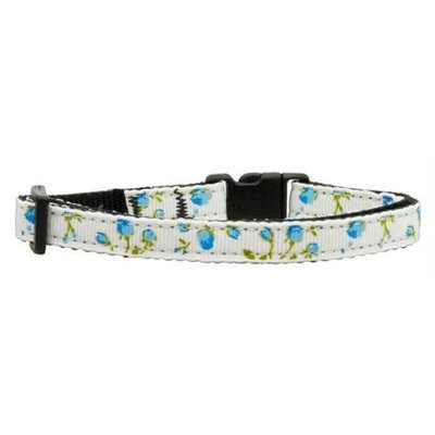 Mirage Pet Products 125020 CTBL Roses Nylon Ribbon Collar Blue Cat Safety