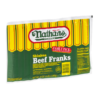 Nathan's Skinless Beef Franks - 24 CT