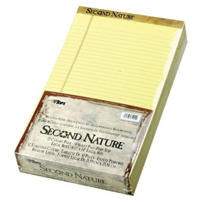 TOPS 8 1/2 x 11 3/4 Second Nature Recycled Pad, Legal/Margin Rule,