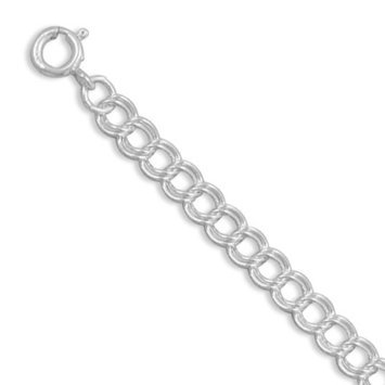 True Life Fly Company Ladies Sterling Silver 7 Inch Spring Ring Closure Charm Bracelet Measures 5mm Wide