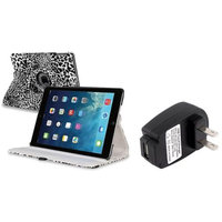 Insten INSTEN White/Black Leopard 360 Leather Case Cover+Charger For Apple iPad Air 5 5th Gen