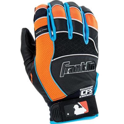 Franklin Sports Shok-Pro Batting Glove Black/Blue/Orange Adult Medium