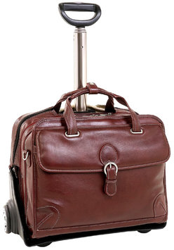 Siamod Carugetto Detachable-Wheeled Leather Laptop Case - Cognac