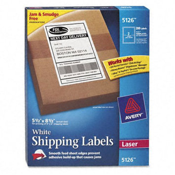 Avery Laser Label, white,5 1/2x8 1/2pk100 5126 5nhf6