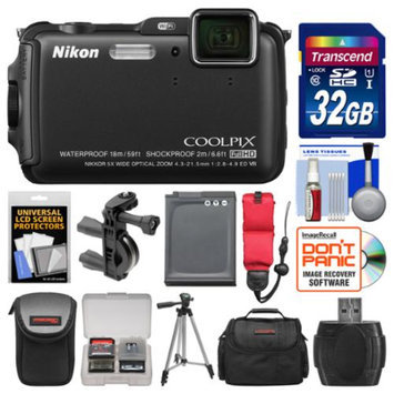 Nikon Coolpix AW120 Shock & Waterproof Wi-Fi GPS Digital Camera (Black) with 32GB Card + Cases + Battery + Tripod + Strap + Handlebar & Helmet Mount Kit