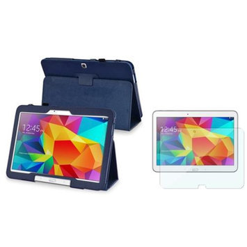 Insten INSTEN Navy Blue Leather Stand Case+Clear Screen Protector For Samsung Galaxy Tab 4 10.1 SM-T530NU Tablet