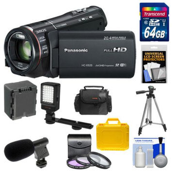 Panasonic HC-X920 3MOS Ultrafine Full HD Wi-Fi Video Camera Camcorder (Black) with 64GB Card + Battery + 2 Cases + LED Video Light + Microphone + 3 UV/FLD/CPL Filters + Tripod + Accessory Kit