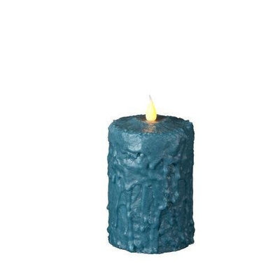 Delighted Home MC-W5AQ Hand-Waxed Battery-Operated 5 in. Aqua MC Pillar Candle