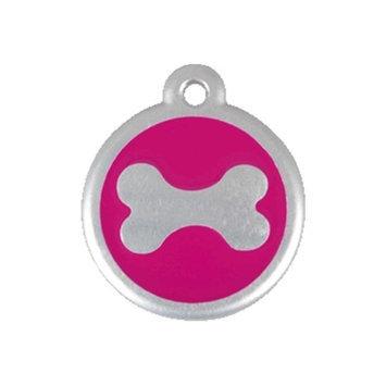 Red Dingo 06-BN-HP-SM QR Tag Premium Bone Hot Pink Small