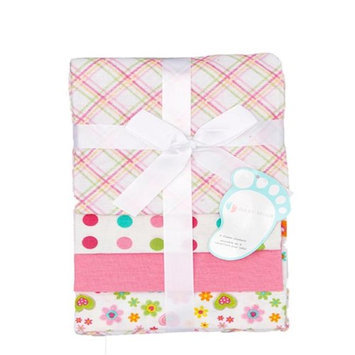 Baby Mode Pink Plaid & Polka Dot Receiving Blankets - Set of Four