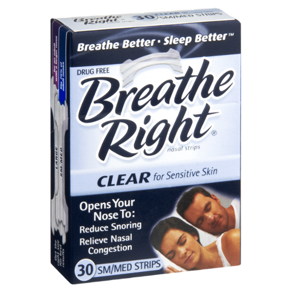 Breathe Right Drug Free Clear Sm/Med Nasal Strips - 30 CT