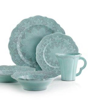 Arte Italica Dinnerware, Merletto Aqua 5 Piece Place Setting