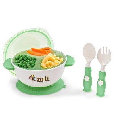 Zo-li Zoli Baby Stuck Suction Feeding Bowl Kit - Green