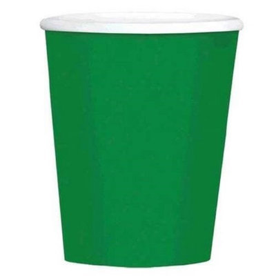 Amscan 689100.03 12 oz. Festive Green Paper Coffee Cups - Pack of 480
