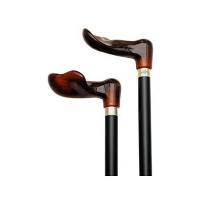 Harvy Unisex Palm Grip Cane Black Shaft, Amber Acrylic Handle -Affordable Gift! Item #DHAR-9786900