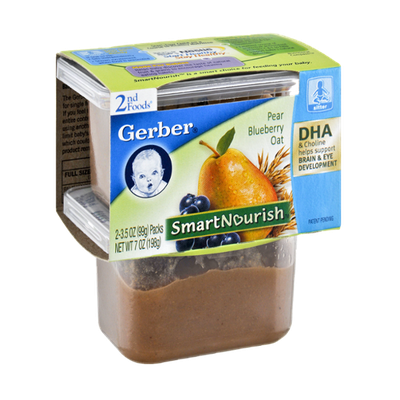 Gerber Smart Nourish 2nd Foods Pear Blueberry Oat - 2CT
