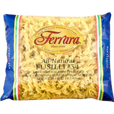 Ferara Pasta, Long Fusilli, 1-Pound (Pack of 12)