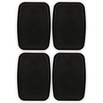 Theater Solutions 2 Pairs of New Indoor or Outdoor Weatherproof HD Mountable Black Speakers 2TS4ODB