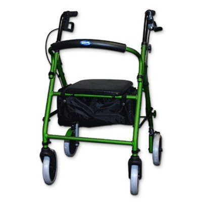 Invacare® Soft Seat Aluminum Rollator with Round Back (Color: Green)