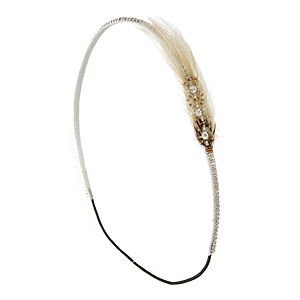 Deepa Gurnani Skinny Crystal Headwrap with Side Feather