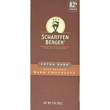 Scharffen Berger 82% Extra Dark Chocolate Bars, 3-Ounce Bars (Pack of 6)