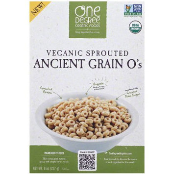 One Degree Organic Foods Veganic Sprouted Ancient Grain O's Cereal, 8 oz, (Pack of 6)