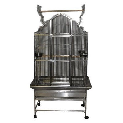 A & E Cage Co Large Victorian Top Bird Cage with Stand Color: Stainless Steel
