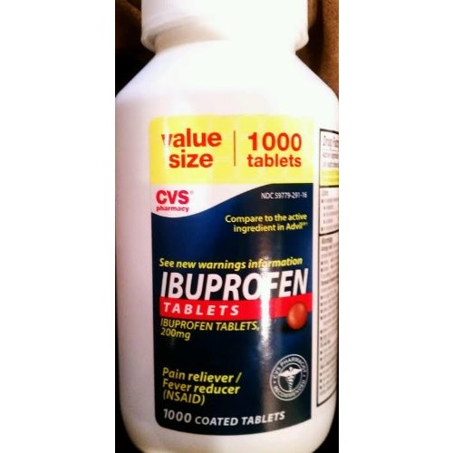 CVS Ibuprofen Tablets 200mg Pain Reliever / Fever Reducer 1000 Coated Tablets