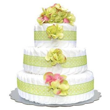 Bella Sprouts Diaper Cake, Three Tier, Green/White