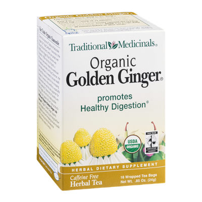 Traditional Medicinals Herbal Tea Organic Golden Ginger Tea Bags - 16 CT
