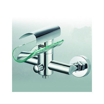 Arctic Contemporary Brass Tub Faucet with Glass Spout (Wall Mount)