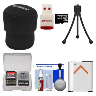 OP/Tech Essentials Bundle for Sony Cyber-Shot DSC-QX100 Smartphone Attachable Lens-Style Camera with 16GB Card + Case + NP-BN1 Battery + Flex Tripod Kit