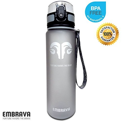 Embrava Best Sports Water Bottle - 18oz Small - Eco Friendly & BPA-Free Plastic - For Running, Gym, Yoga, Outdoors and Camping - Fast Water Flow, Flip Top, Opens With 1-Click - Reusable with Leak-proof Lid []