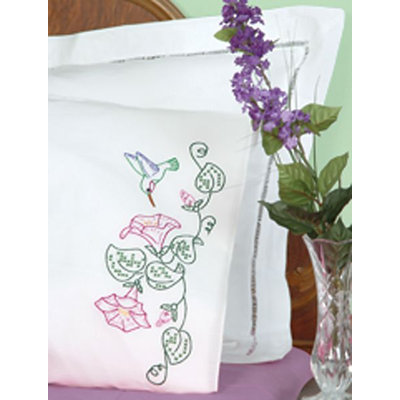 Jack Dempsey Hummingbird And Morning Glories Stamped Pillowcases With White Perle Edge