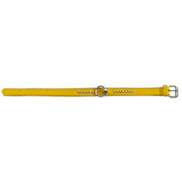 Pet Ego Soft Calfskin Leather Collar with Crystals Yellow