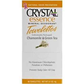 Crystal Essence Deodorant Towelettes Drop Box, Chamomile and Green Tea, 0.1 ounces