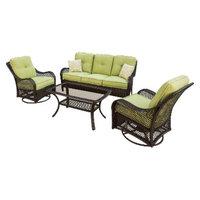 Hanover Orleans 4-Piece Wicker Patio Conversation Furniture Set