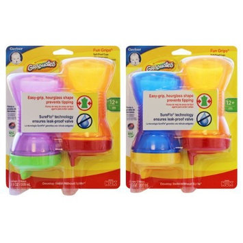 NUK Gerber Fun Grips Cup, 10 Ounce, 2 Pack , Colors May Vary, 4-Count