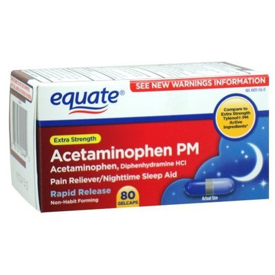 Equate - Pain Reliever PM Nighttime Sleep Aid, Extra Strength, Acetaminophen 80 Gelcaps