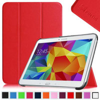 Fintie Smart Shell Case Ultra Slim Lightweight Stand Cover for Samsung Galaxy Tab 4 10.1 Tablet, Red