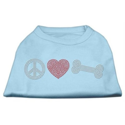 Mirage Pet Products 5262 XXXLBBL Peace Love and Bone Rhinestone Shirt Baby Blue XXXL 20