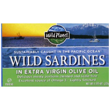 Wild Planet Wild Sardines in Extra Virgin Olive Oil, 4.375 oz, (Pack of 12)