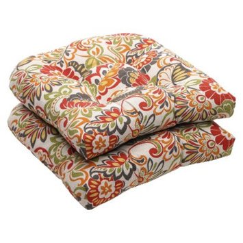 Pillow Perfect Outdoor 2-Piece Wicker Chair Cushion Set - Green/Off-White/Red Floral