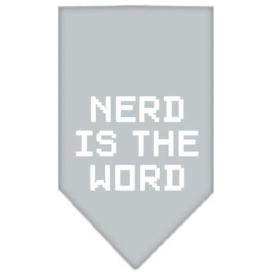 Mirage Pet Products 66-95 LGGY Nerd is the Word Screen Print Bandana Grey Large