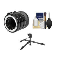 Kenko Macro Automatic Extension Tube Set DG + Tripod + Accessory Kit for Nikon D300s, D700, D800, D7000, D3100, D3200, D5000, D5100, D4, D3x, D3s Digital SLR Cameras