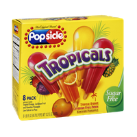 Popsicle Tropicals  Sugar Free Orange, Caribbean Fruit Punch, Hawaiian Pineapple Ice Pops - 8 PK