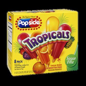 Popsicle Tropicals  Sugar Free Orange, Caribbean Fruit Punch, Hawaiian Pineapple Ice Pops - 8 PK